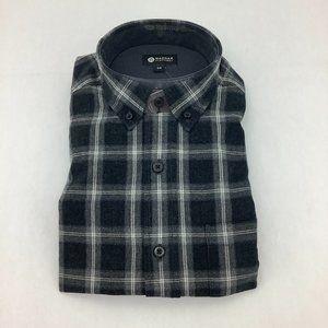 Haggar | Men's Button Down Plaid Shirt | Grey